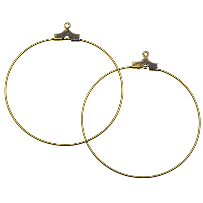 Antiqued Brass Beading Hoop Earring Findings With Loop - 40mm Diameter (12)