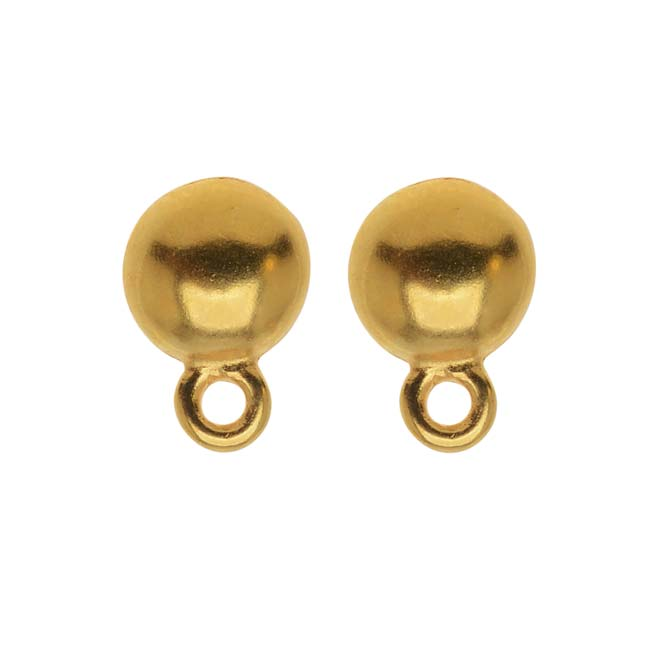 TierraCast 22K Gold Plated Pewter Stud Earrings Dome Post & Ring 8mm