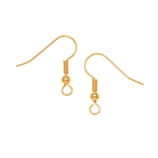 Earring Findings, Earring Hook with Ball & Coil 18mm, 10 Pairs, Gold Plated