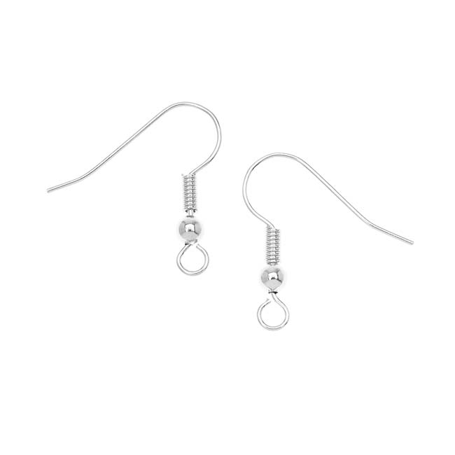 Silver Plated Ball & Coil Earring Hooks 18mm (10 Pairs)