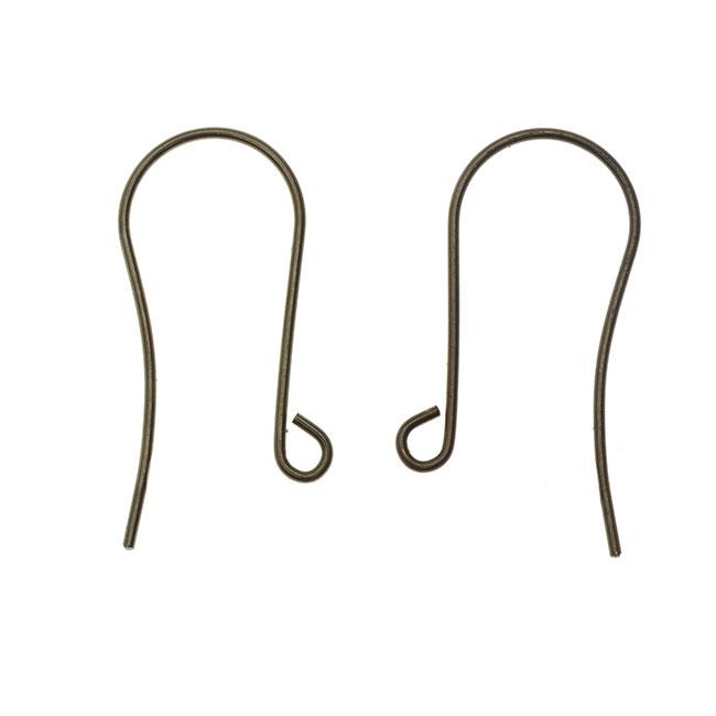 Vintaj Natural Brass, Round Ear Wire 30mm, 4 Pieces