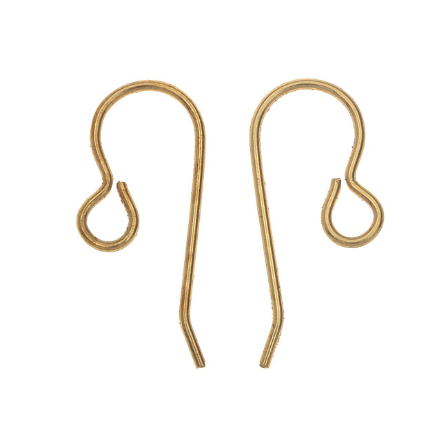 Vintaj Vogue Earring Components, French Ear Wire 20x10mm, 6 Pieces, Raw Brass