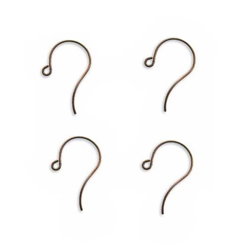 Vintaj Natural Brass Round Loop Ear Wire 25mm (2 Pair)