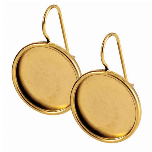 Nunn Design Antiqued 24kt Gold Plated Bezel Lg Round Earrings 1 Pair