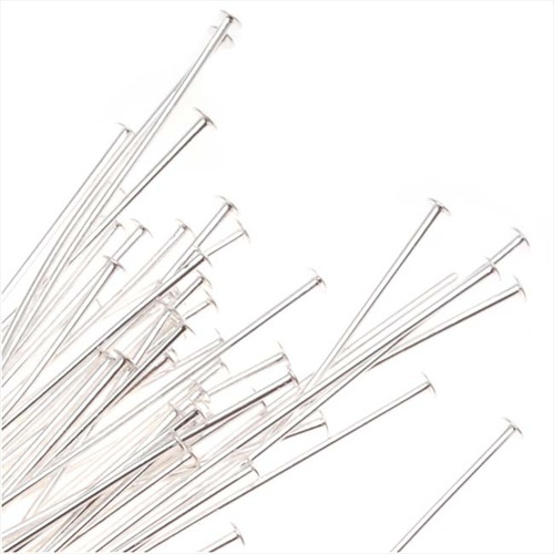 Silver Plated Head Pins - 21 Gauge 3 Inches (25)
