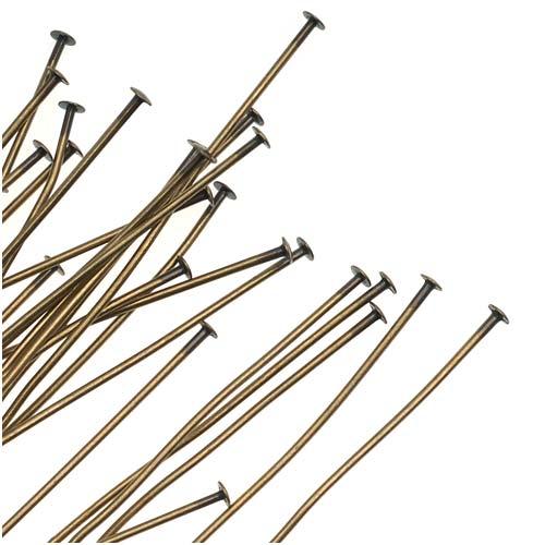 Antiqued Brass Head Pins - 21 Gauge 3 Inches (25)