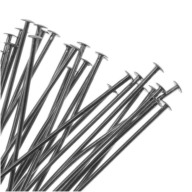 Gun Metal Plated Head Pins - 21 Gauge 3 Inches (25)