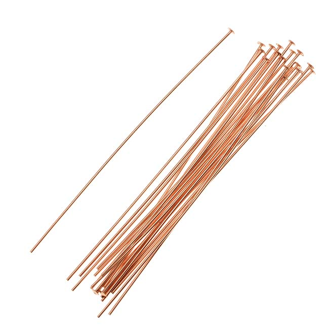 14K Rose Gold Filled Head Pins 2 Inches / 24 Gauge Thick (20 Pieces)