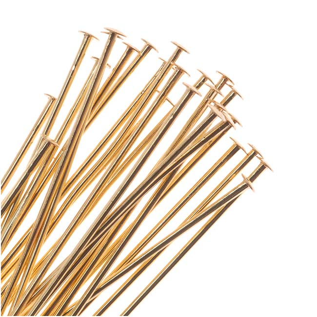Head Pins, 1 Inch Long and 22 Gauge Thick, 50 Pieces, 22K Gold Plated