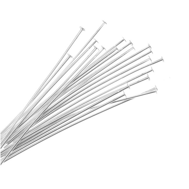 Head Pins, 1.5 Inches Long and 22 Gauge Thick, 50 Pieces, Silver Plated