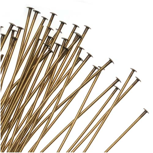 Antiqued Brass Head Pins 2 Inches/21 Gauge (X50)