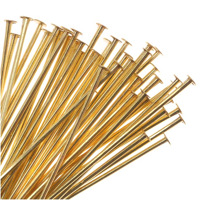 Solid Brass Head Pins 1 Inches Long/21 Gauge (50)