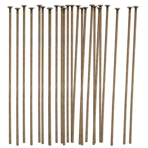 TierraCast Antiqued Brass Oxide Finish Head Pins 2 Inches / 21 Gauge (x50)