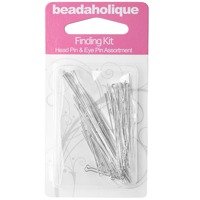 Silver Plated Findings Kit - Assorted Head Pins And Eye Pins 1-3