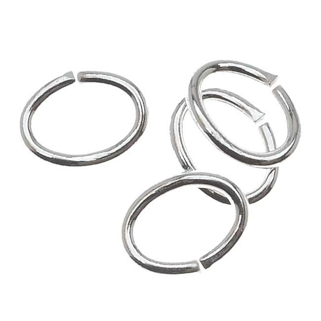 Sterling Silver Open Jump Rings Oval 5x7mm 19 Gauge (10)
