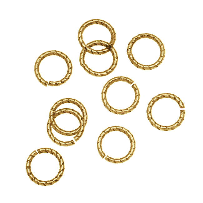 Nunn Design Antiqued 24kt Gold Plated Open Jump Rings Twist 8.5mm 17 Gauge (10)