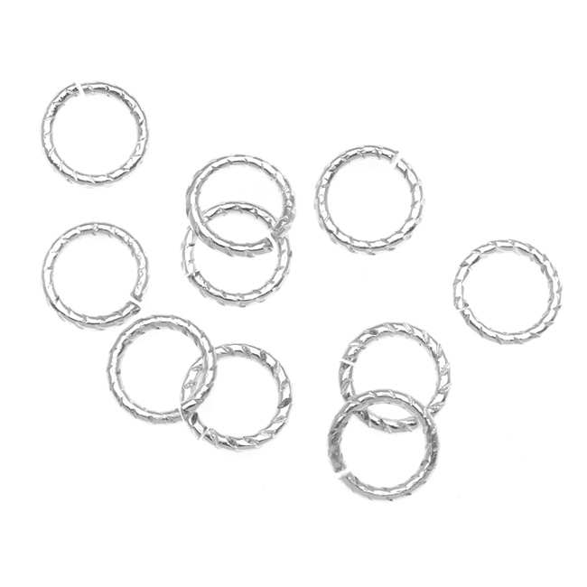 Nunn Design Silver Plated Open Jump Rings Twist 8.5mm 16 Gauge (10)