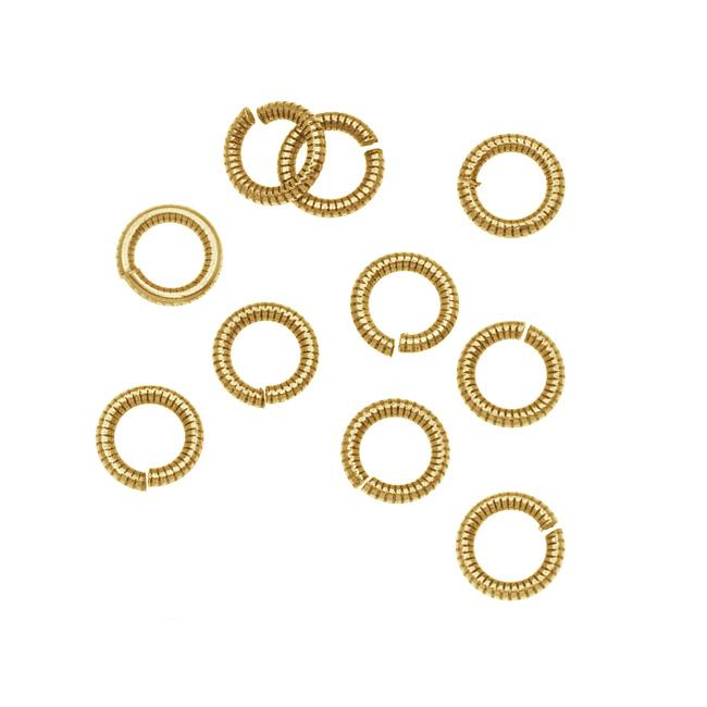 Nunn Design Antiqued 24kt Gold Plated Open Jump Rings Etched 6.5mm 17 Gauge (10)