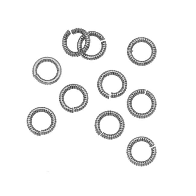 Nunn Design Antiqued Silver Plated Open Jump Rings Etched 6.5mm 17 Gauge (10)