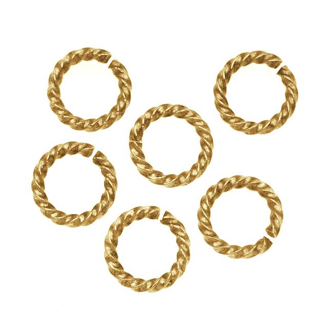 Nunn Design Antiqued 24kt Gold Plated Open Jump Rings Twist 11.5mm 14 Gauge (10)