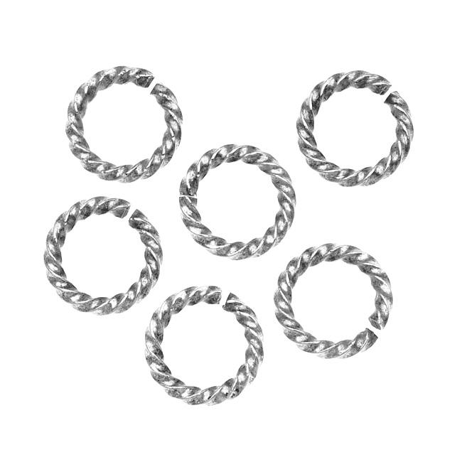 Nunn Design Antiqued Silver Plated Open Jump Rings Twist 11.5mm 14 Gauge (10)