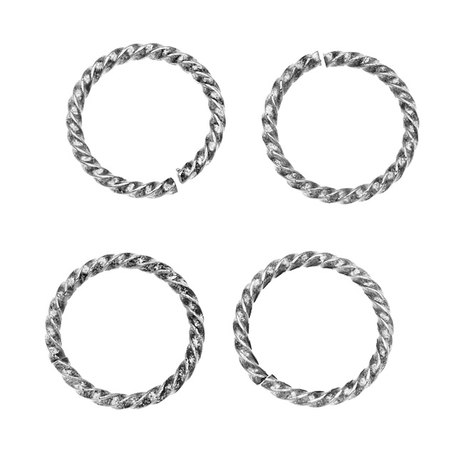 Nunn Design Antiqued Silver Plated Open Jump Rings Twist 17mm 15 Gauge (4)