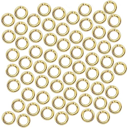 22K Gold Plated Open Jump Rings 4mm 20 Gauge 22k Gold Plated (100)