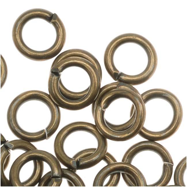 Antiqued Brass Open Jump Rings 5mm 18 Gauge (50)