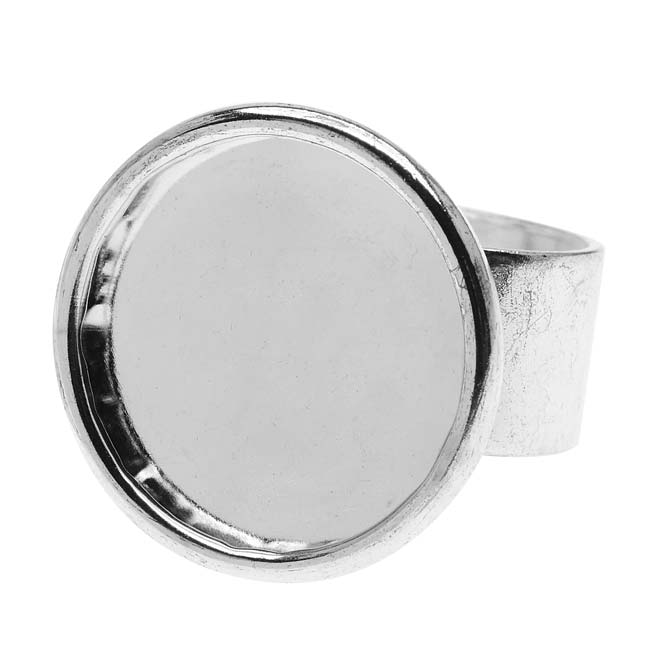Nunn Design Bright Silver Plated Pewter Large Bezel Round Adjustable Ring