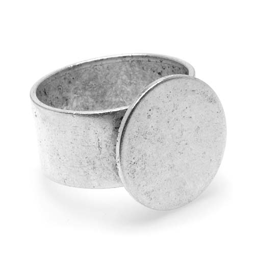 Final Sale - Nunn Design Antiqued Silver Plated Pewter 16mm Round Glue-On Adjustable Ring