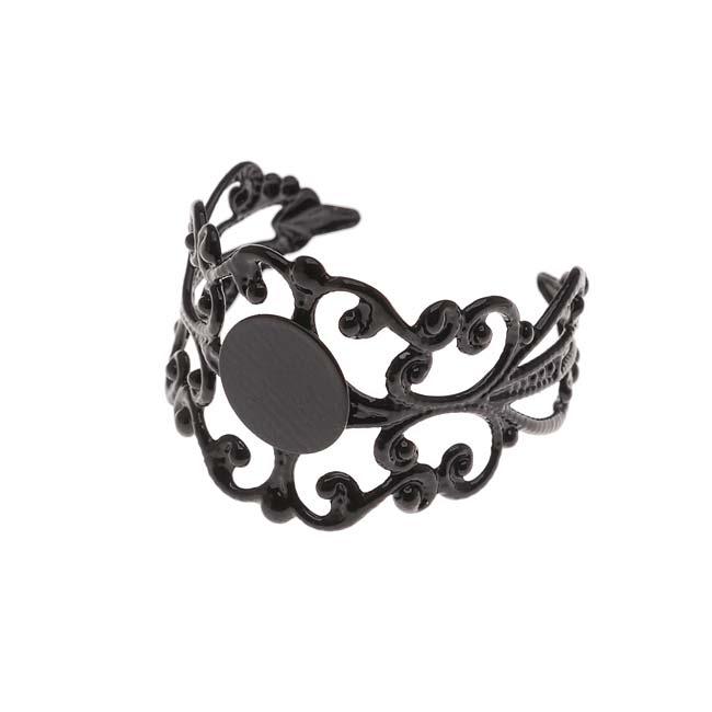 Black Color Coated Brass Glue On Adjustable Ring (1)