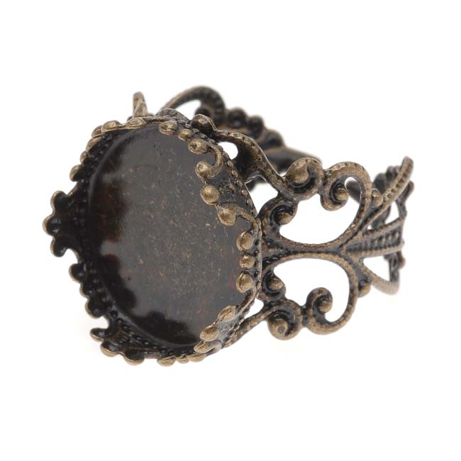 Antiqued Brass Filigree Adjustable Ring With 16.5mm Round Bezel (1)