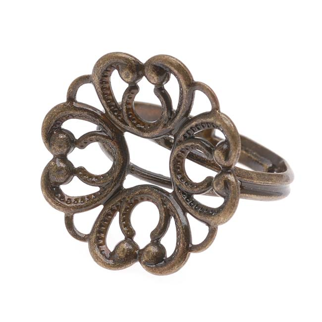 Final Sale - Antiqued Brass Adjustable Ring With 20mm Flower Sew On Plate (1)
