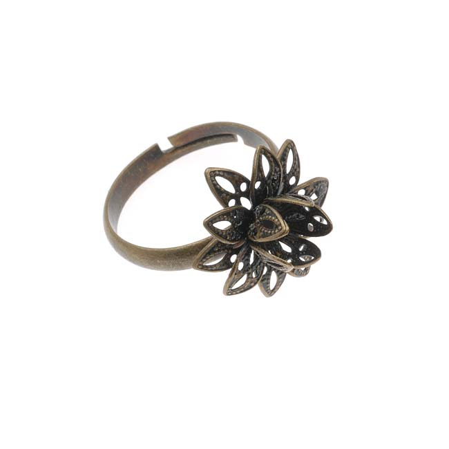 Antiqued Brass Flower Adjustable Ring With Setting For Stone 16mm (1)