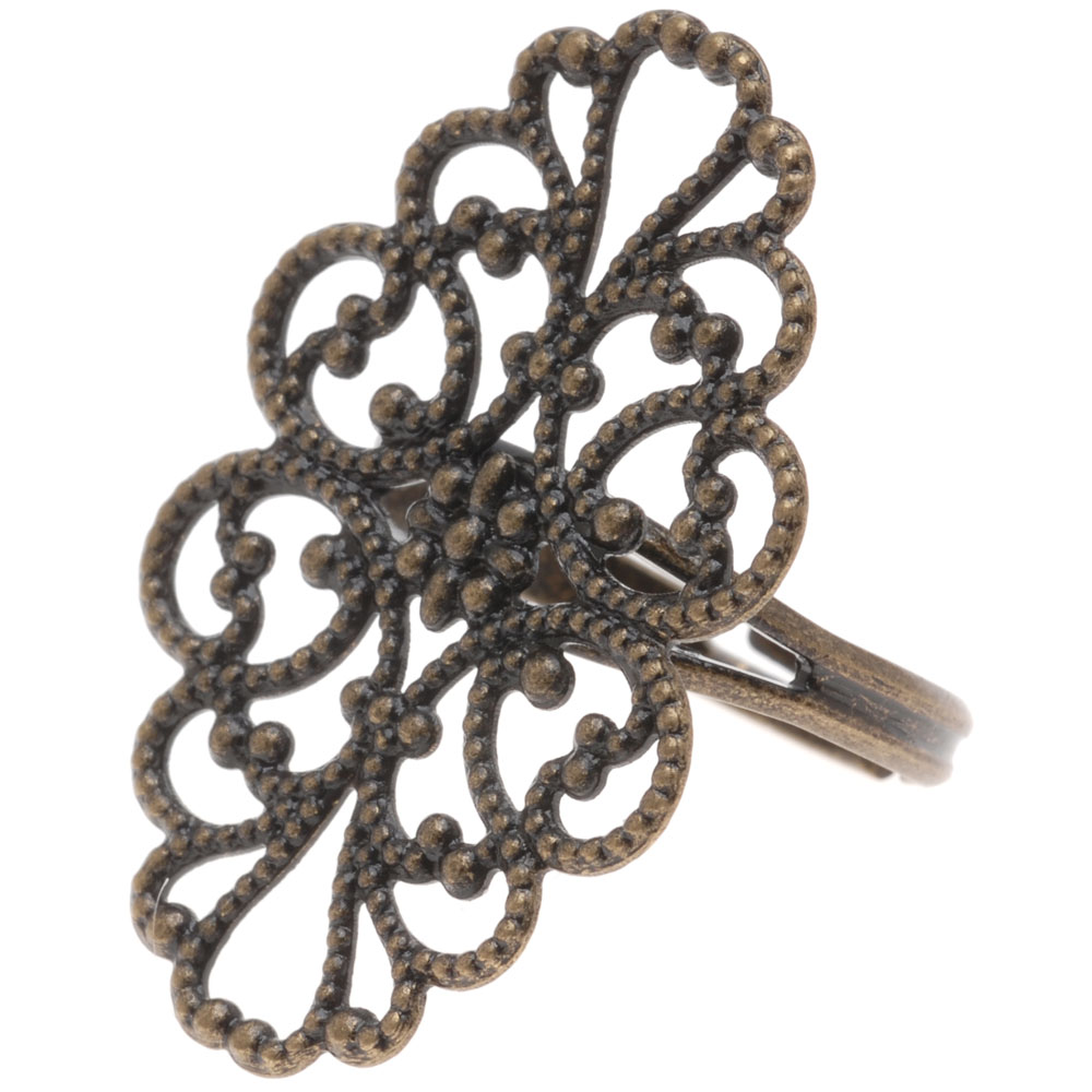 Antiqued Brass Oval Filigree 31.5 x 20mm Adjustable Ring (1)