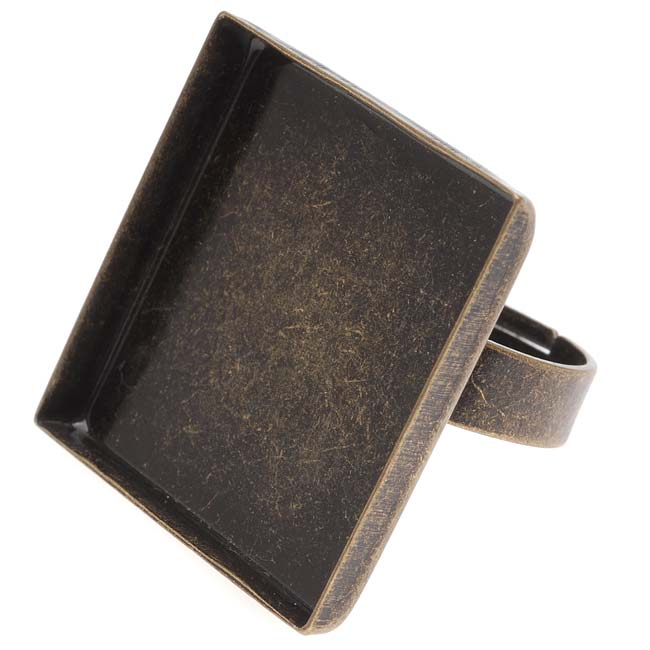 Final Sale - Antiqued Brass 26mm Square Bezel Adjustable Ring (1)