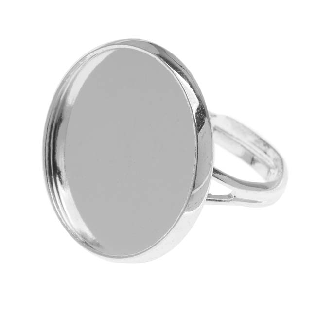 Silver Plated Round Bezel Adjustable Ring 20mm  (1)