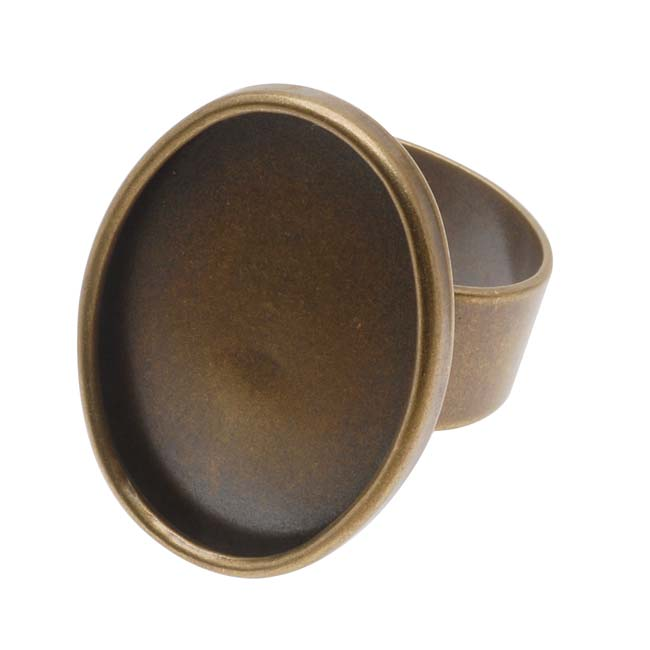 Antiqued Brass Adjustable Ring With Oval Bezel - 25x18mm (1)