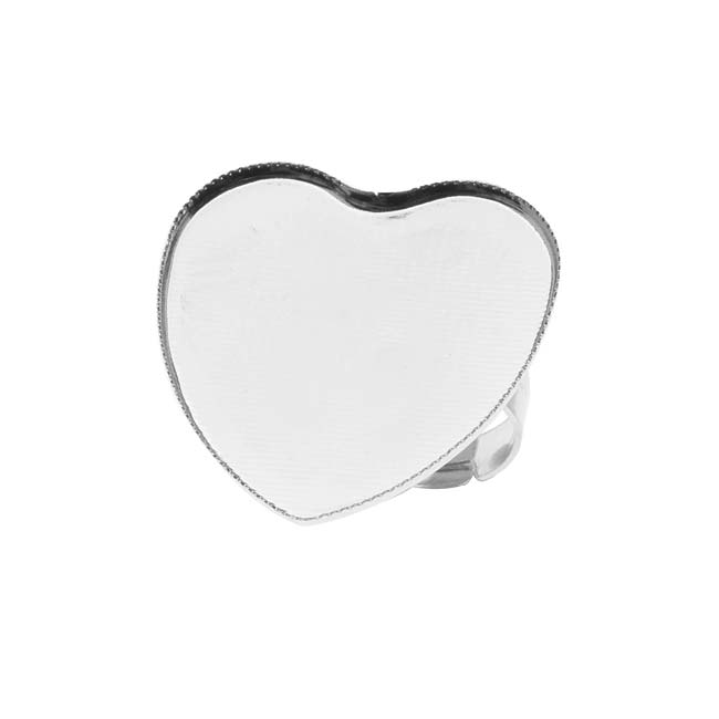 Final Sale - Bright Silver Tone Brass Heart Bezel Adjustable Ring 26mm (1)