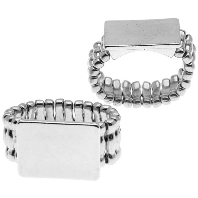 Silver Tone Stretch Ring With Flat Rectangle Pad - 18mm (2)