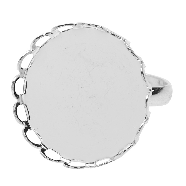 Final Sale - Adjustable Bezel Ring, Round 20.5mm, 4 Pieces, Bright Silver Tone