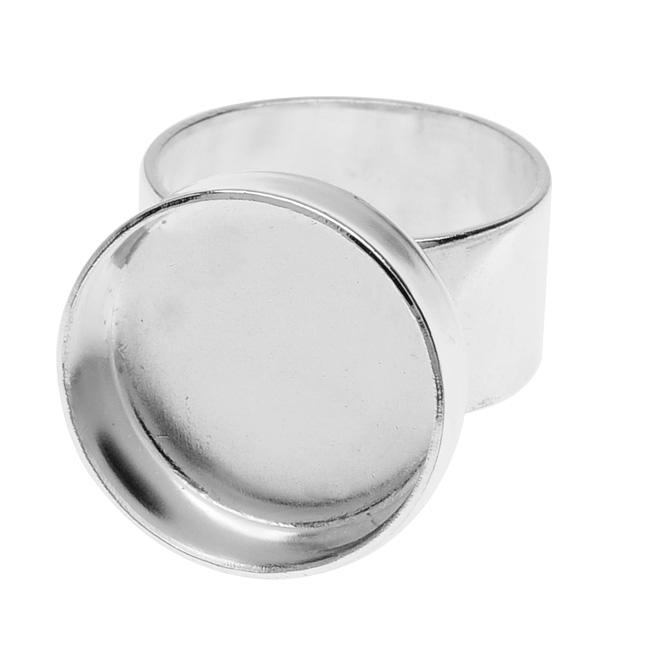 Nunn Design Deep Bezel Ring, Circle 18mm, 1 Ring, Bright Silver