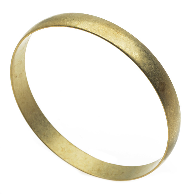 Solid Brass Bangle, Round Domed Bracelet 9.5mm (3/8 Inch) Wide, 1 Piece