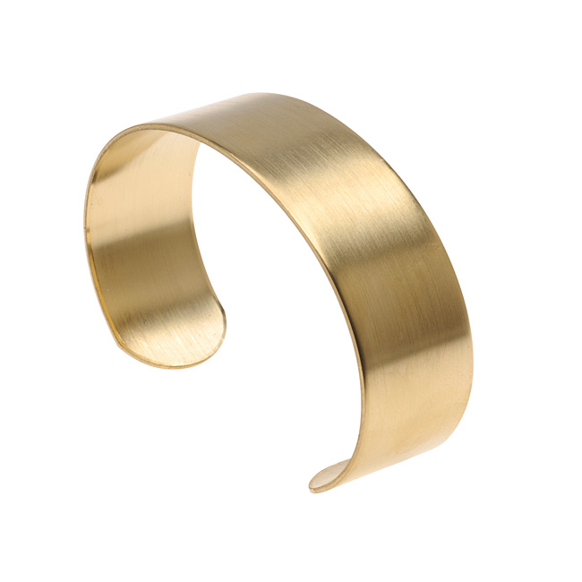 Solid Brass Flat Cuff Bracelet Base 19mm (0.75 Inch) Wide (1 Piece)