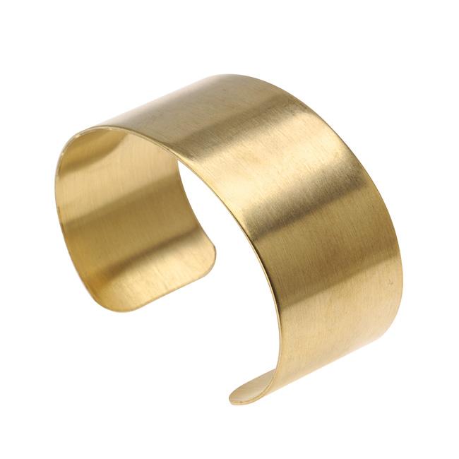 Solid Brass Flat Cuff Bracelet Base 28.5mm (1 1/8 Inch) Wide (1 Piece)