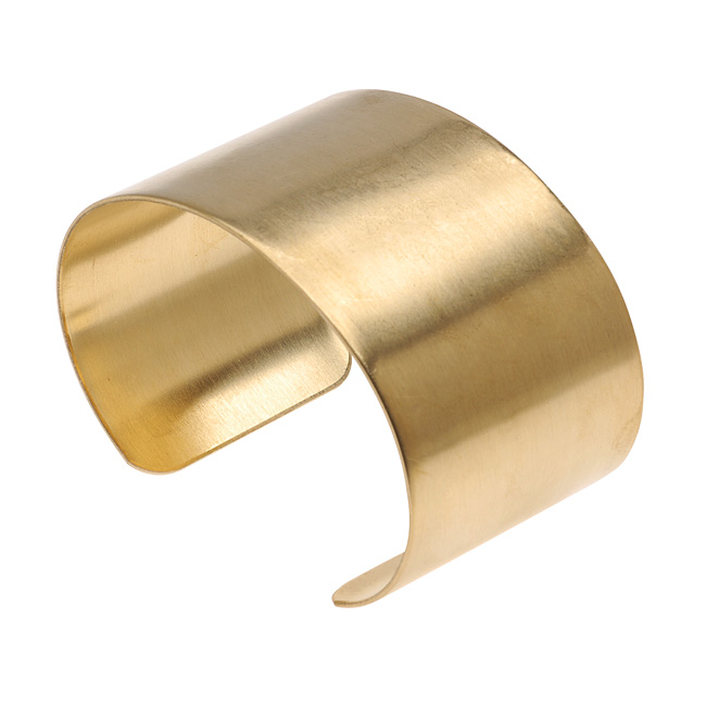 Solid Brass Flat Cuff Bracelet Base 38mm (1.5 Inch) Wide (1 Piece)