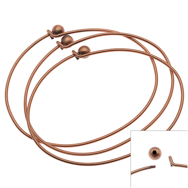 Antiqued Copper Plated Wire Beading Bracelet With Ball - Add A Bead (3)