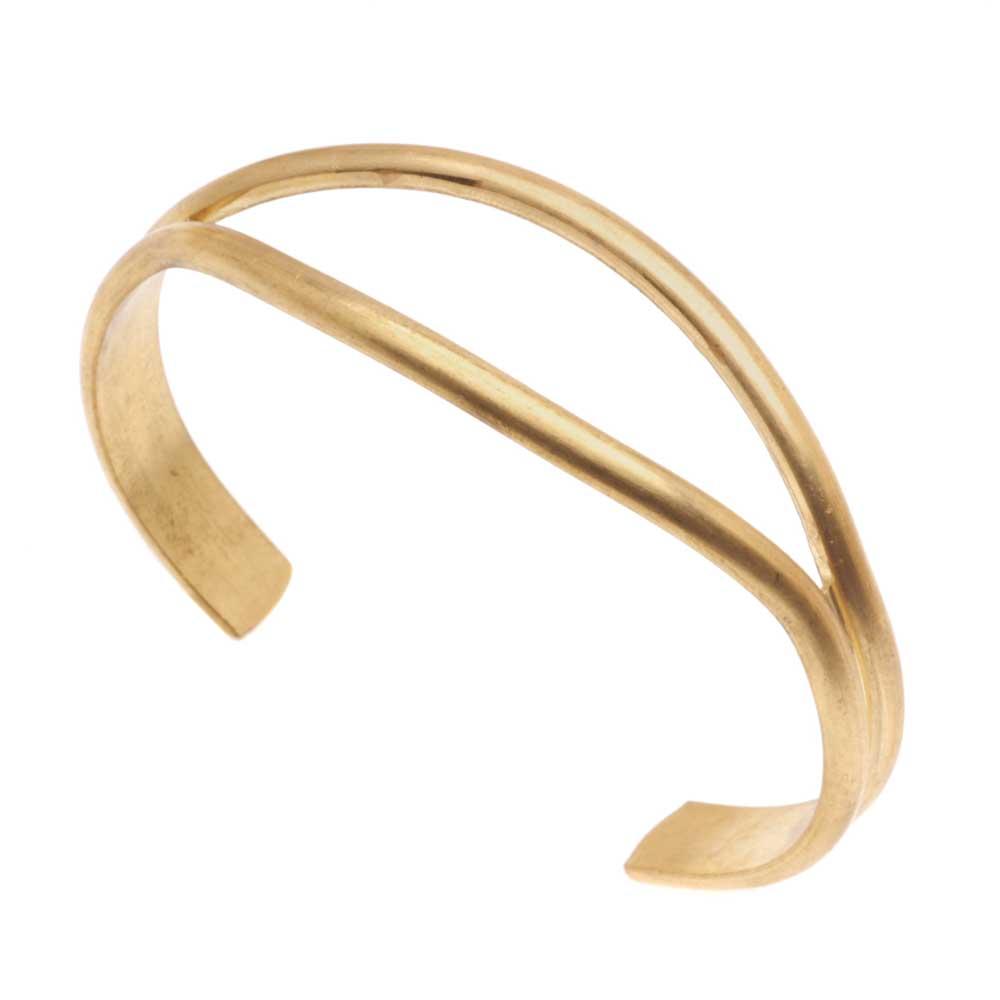 Beadsmith Solid Brass Open Eye Cuff Bracelet Base 19mm (0.75 Inches) Wide - 1 Piece