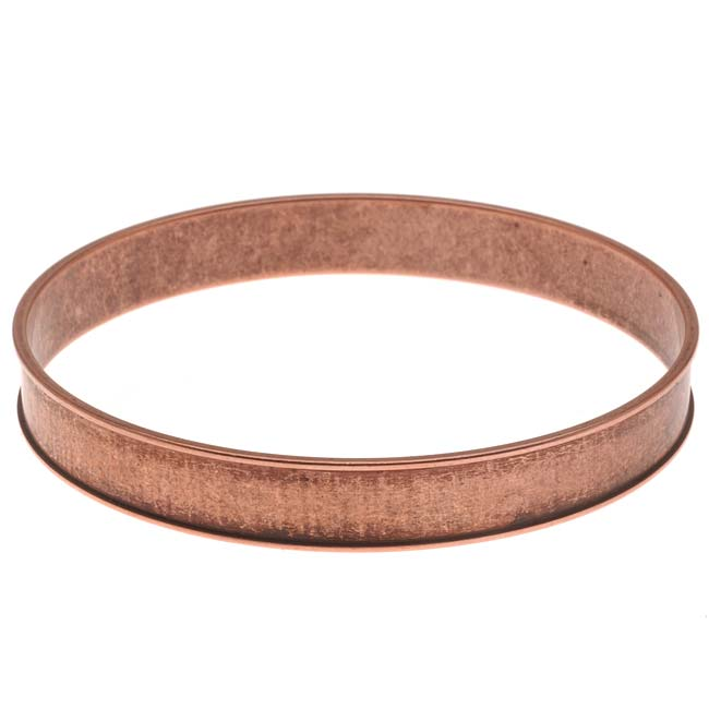 Nunn Design Antiqued Copper Plated Round Channel Bangle Bracelet - 2 3/4 Inch