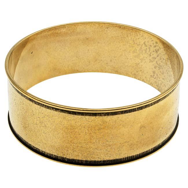 Nunn Design Antiqued 24kt Gold Plated Round Wide Channel Bangle Bracelet - 2 3/4 Inch